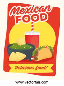 poster of delicious mexican food, tacos with guacamole
