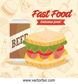 fast food poster, sandwich with beer in can