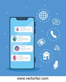 online chat messages of people in smartphone, chat digital communication online, social media concept