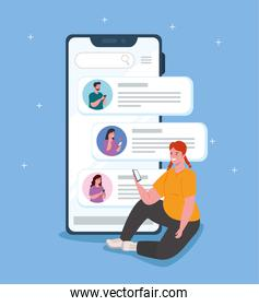 woman chatting in smartphone with friends, chat digital communication online