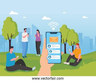 young people using smartphones outdoor, social media and communication technology concept