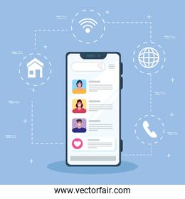 online chat messages of young people in smartphone, chat digital communication online, social media concept