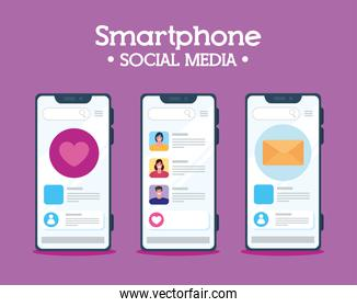 set smartphone, chat notification and social media concept