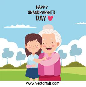 happy grandparents day card with grandmother and granddaughter
