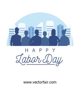 happy labor day celebration with workers silhouette on the city