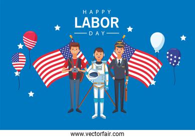 happy labor day celebration with workers and flags
