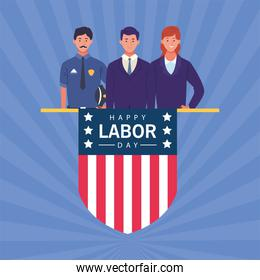 happy labor day celebration with workers and shield flag