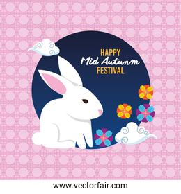 happy mid autumn festival with rabbit and flowers garden