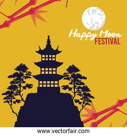 happy mid autumn festival with castle and trees