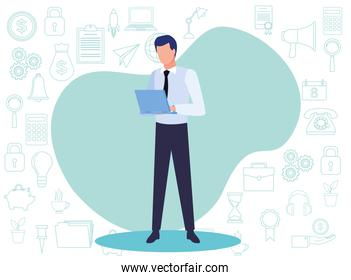 young business man with document avatar character