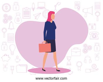 young business woman with portfolio avatar character