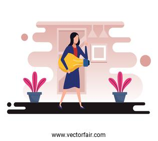 young business woman with bulb avatar character
