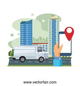 white van vehicle transport with smartphone and gps scene