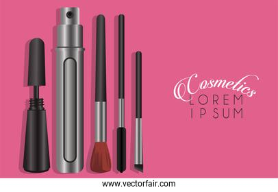 set of cosmetics makeup with lettering