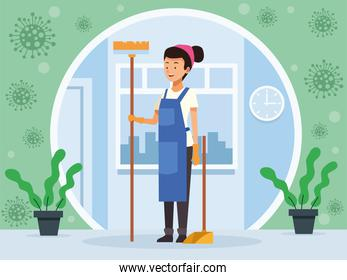 housekeeping female worker with broom and dustpan avatar character
