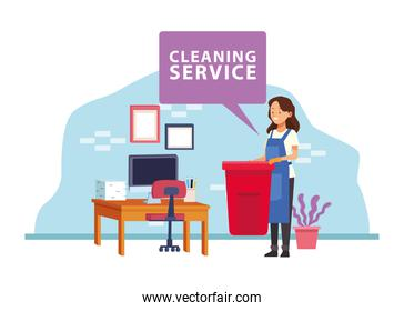 housekeeping female worker with garbage pot avatar character