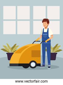 housekeeping male worker with cleaning trolley avatar character
