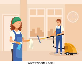 housekeeping couple workers cleaning room with tools characters