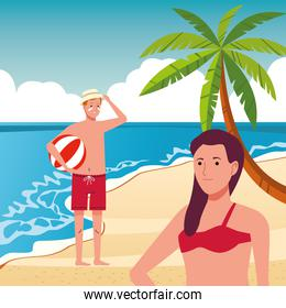 young couple wearing swimsuits on the beach scene