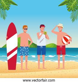 young men wearing swimsuits on the beach characters