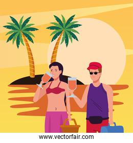 young couple wearing swimsuits drinking cocktails on the beach scene