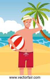 man wearing beach suit with beach balloon character