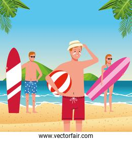 young people wearing swimsuits on the beach characters