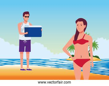 couple wearing swimsuits with fridge box on the beach scene