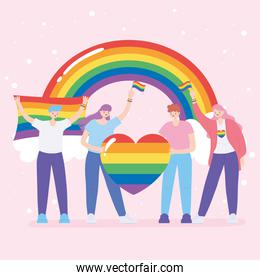 LGBTQ community, young people holds rainbow heart love and flags, gay parade sexual discrimination protest