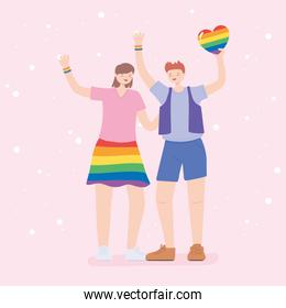 LGBTQ community, happy man and woman with rainbow heart, gay parade sexual discrimination protest