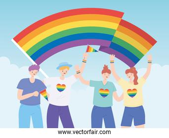 LGBTQ community, diverse group with rainbow flag, gay parade sexual discrimination protest