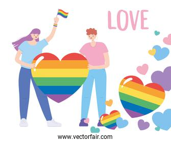 LGBTQ community, young people with rainbow flag hearts love, gay parade sexual discrimination protest