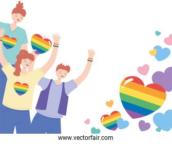 LGBTQ community, young people character with rainbow hearts, gay parade sexual discrimination protest