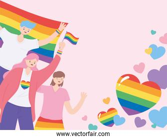 LGBTQ community, people holding rainbows flag and love hearts, gay parade sexual discrimination protest