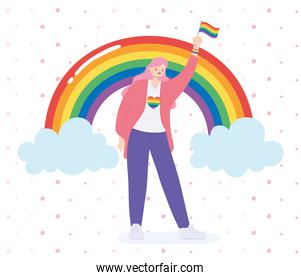 LGBTQ community, happy woman with flag and rainbow, gay parade sexual discrimination protest