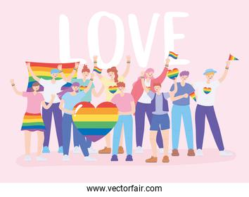 LGBTQ community, diverse group people with rainbow flags and heart, gay parade sexual discrimination protest