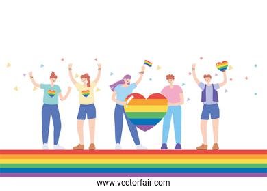 LGBTQ community, people with clothes and flags rainbow color, gay parade sexual discrimination protest