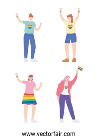 LGBTQ community, women with rainbow skirt colors flag heart cartoon, gay parade sexual discrimination protest