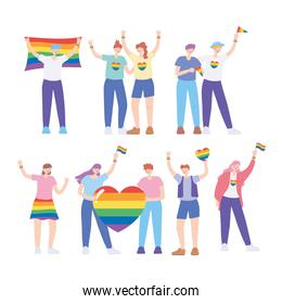 LGBTQ community, homosexual people with flag and heart rainbow, gay parade sexual discrimination protest