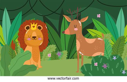 cute lion with and deer animal grass forest nature wild cartoon
