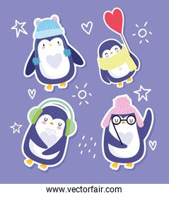 penguin bird animal cartoon character funny with hats glasses scarf sticker design