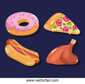 fast food set meal menu lunch restaurant pizza donut hot dog and roasted chicken