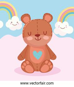 toys object for small kids to play cartoon teddy bear rainbows clouds