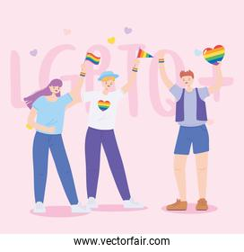 LGBTQ community, young people with flags and hearrt rainbow, gay parade sexual discrimination protest
