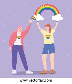 LGBTQ community, lesbian women with rainbow and flag, gay parade   discrimination protest