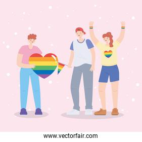 LGBTQ community, celebrating group young people with heart flag rainbow, gay parade sexual discrimination protest