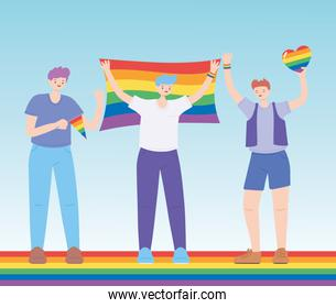 LGBTQ community, young men character with rainbow flags, gay parade sexual discrimination protest