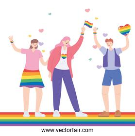 LGBTQ community, celebrating group women with rainbow heart and flag, gay parade sexual discrimination protest