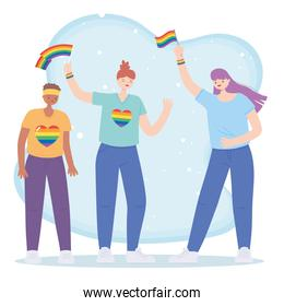 LGBTQ community, lesbians group with rainbow flags, gay parade sexual discrimination protest