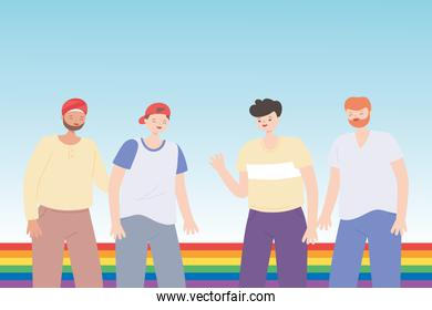 LGBTQ community, young group men rainbow flag celebration, gay parade sexual discrimination protest